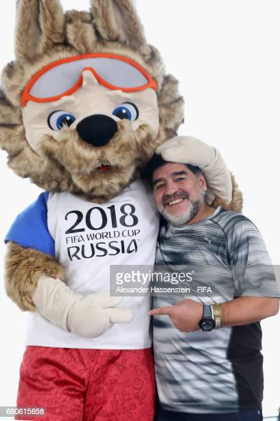 Legend Diego Maradona of Argentina poses with Zabivaka the Official Mascot for the 2018 FIFA World Cup Russia in The Diplomat Radisson BLU hotel...