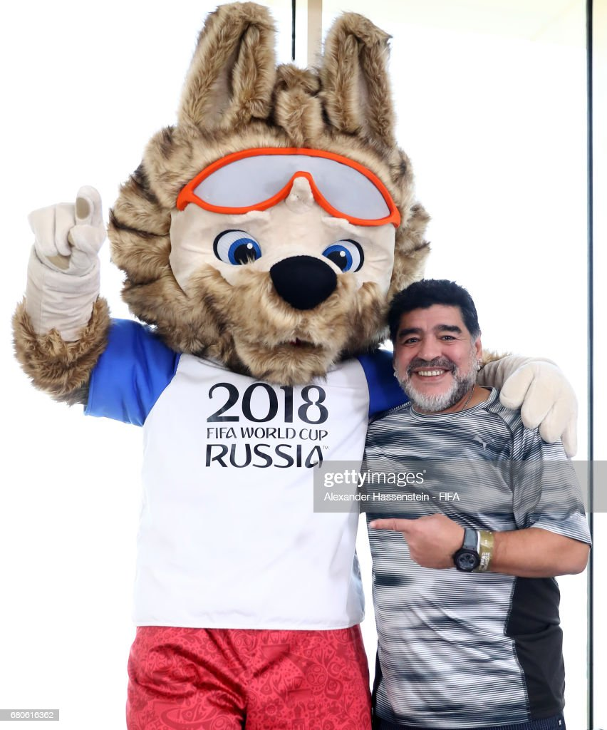Legend Diego Maradona of Argentina poses with Zabivaka, the Official Mascot for the 2018 FIFA World Cup Russia, in The Diplomat Radisson BLU hotel, ahead of the 67th FIFA Congress, on May 9, 2017 in Manama, Bahrain.