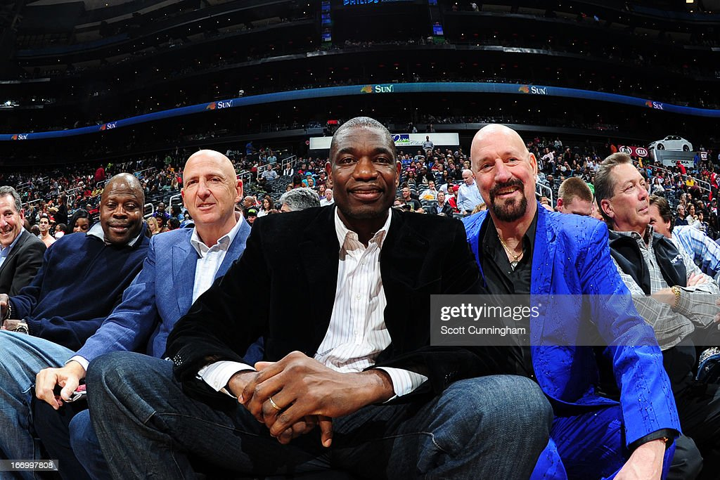 NBA legend <a gi-track='captionPersonalityLinkClicked' href=/galleries/search?phrase=Dikembe+Mutombo&family=editorial&specificpeople=201659 ng-click='$event.stopPropagation()'>Dikembe Mutombo</a> attends the Atlanta Hawks game against the Philadelphia 76ers on April 5, 2013 at Philips Arena in Atlanta, Georgia.