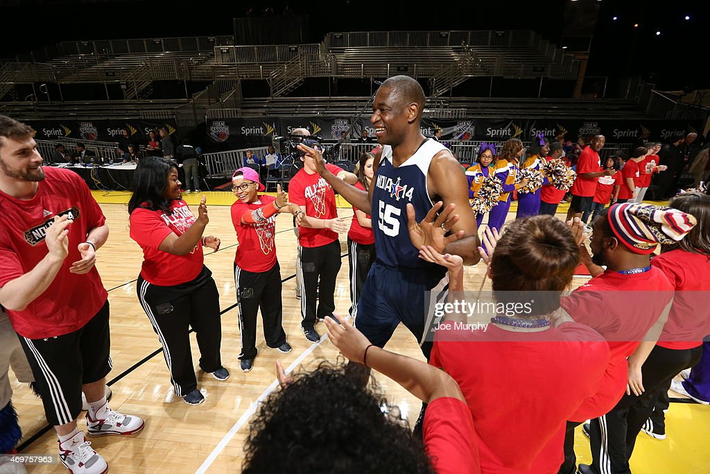 NBA Legend Dikembe Mutombo of the East Team is announced before the NBA Cares Special Olympics Unified Sports Basketball Game at Sprint Arena during the 2014 NBA All-Star Jam Session at the Ernest N. Morial Convention Center on February 16, 2014 in New Orleans, Louisiana.