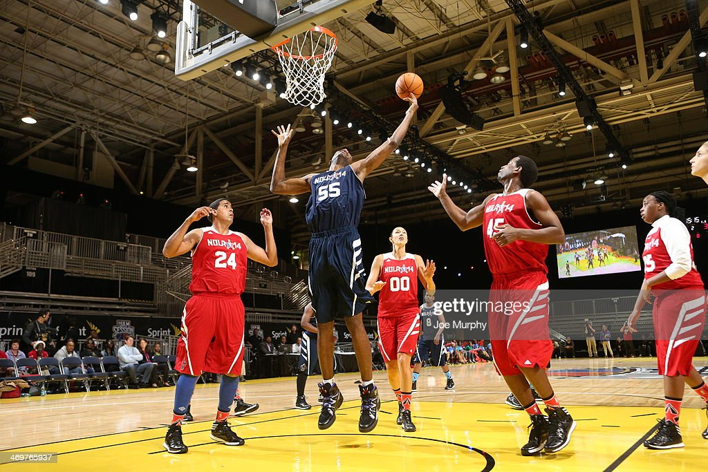NBA Legend Dikembe Mutombo of the East Team shoots against the West Team during the NBA Cares Special Olympics Unified Sports Basketball Game at Sprint Arena during the 2014 NBA All-Star Jam Session at the Ernest N. Morial Convention Center on February 16, 2014 in New Orleans, Louisiana.