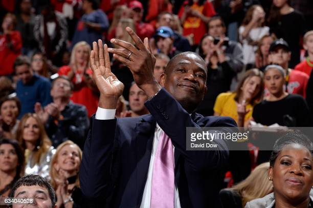 Legend Dikembe Mutumbo attends the Chicago Bulls game against the Houston Rockets on February 3 2017 at the Toyota Center in Houston Texas NOTE TO...