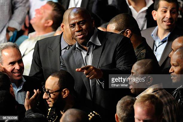 NBA legend Earvin 'Magic' Johnson attends the Floyd Mayweather Jr and Shane Mosley welterweight fight at the MGM Grand Garden Arena on May 1 2010 in...