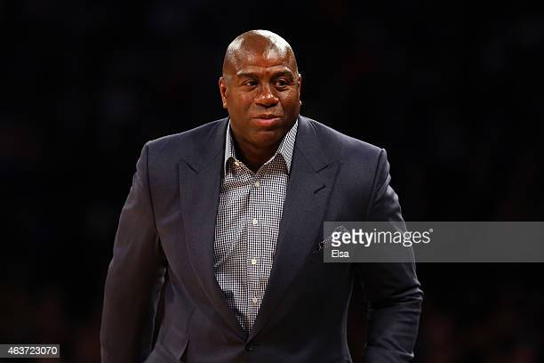 Legend Earvin 'Magic' Johnson Jr attends the 2015 NBA AllStar Game at Madison Square Garden on February 15 2015 in New York City NOTE TO USER User...