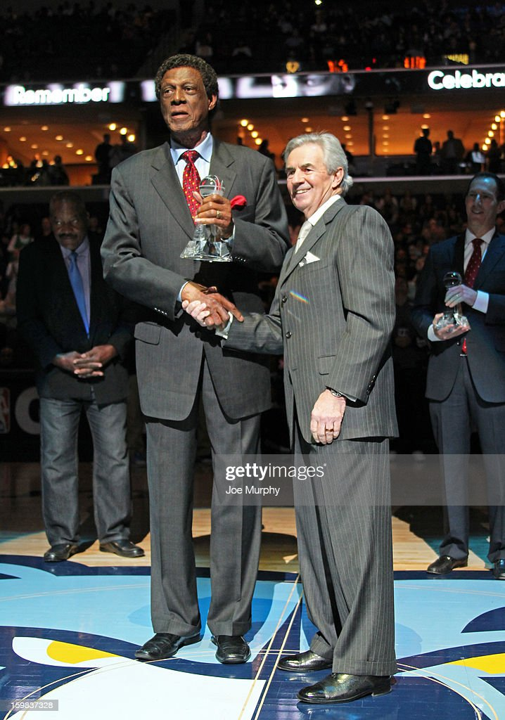 Legend Elgin Baylor receives the Martin Luther King Jr. Sports Legacy Award before a game between the Memphis Grizzlies and the Indiana Pacers on January 21, 2013 at FedExForum in Memphis, Tennessee.