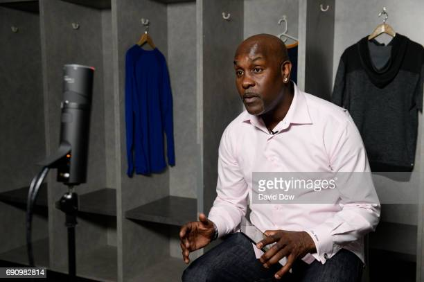 Legend Gary Payton chats during a Facebook Live at practice and media availability as part of the 2017 NBA Finals on May 31 2017 at ORACLE Arena in...