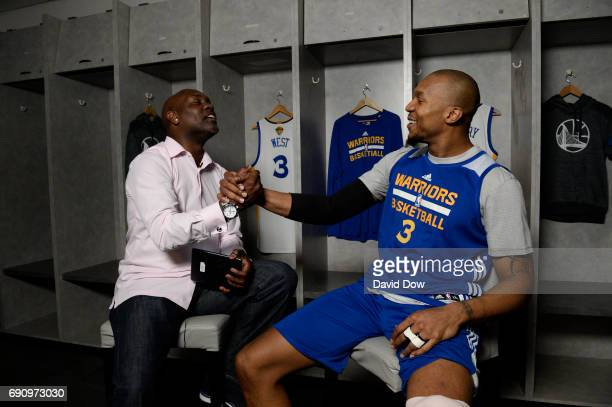 Legend Gary Payton chats with David West of the Golden State Warriors during Facebook Live at practice and media availability as part of the 2017 NBA...