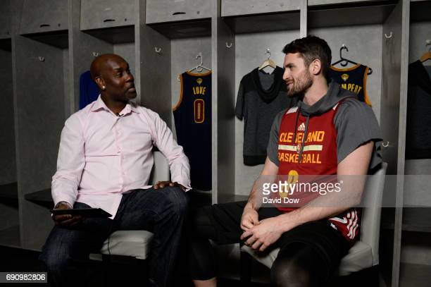 Legend Gary Payton interviews Kevin Love of the Cleveland Cavaliers during a Facebook Live at practice and media availability as part of the 2017 NBA...