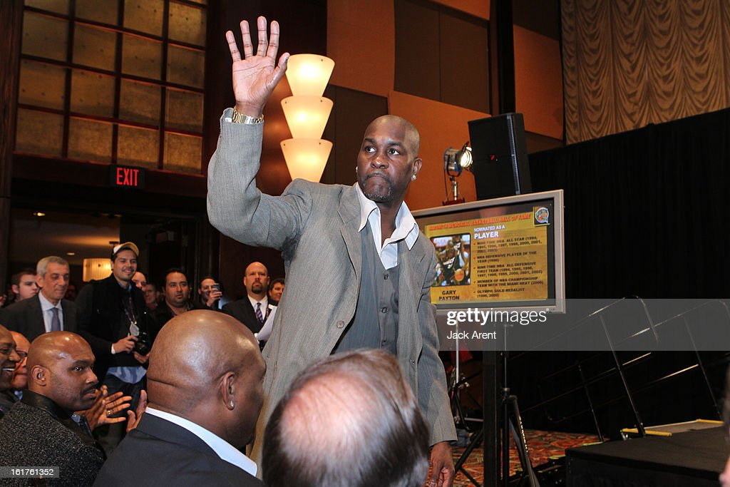 NBA Legend <a gi-track='captionPersonalityLinkClicked' href=/galleries/search?phrase=Gary+Payton&family=editorial&specificpeople=201500 ng-click='$event.stopPropagation()'>Gary Payton</a> is nominated at the Hall of Fame press conference during of the 2013 NBA All-Star Weekend at the Hilton Americas Hotel on February 15, 2013 in Houston, Texas.