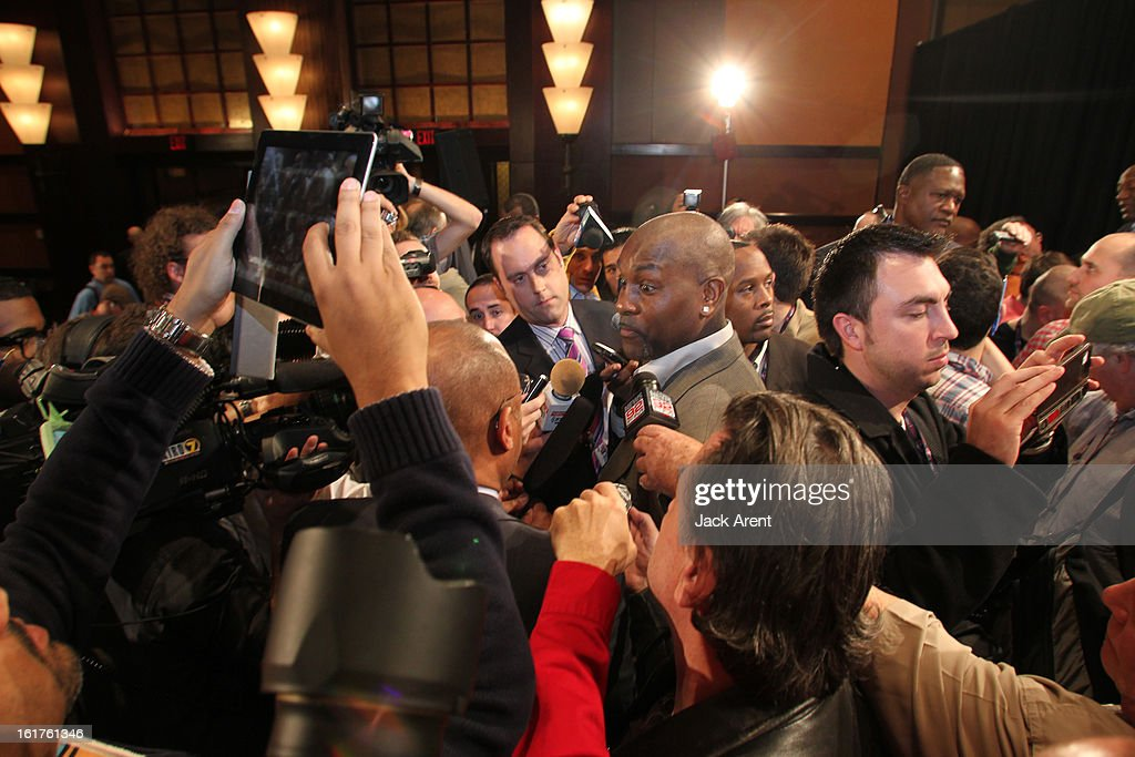 NBA Legend <a gi-track='captionPersonalityLinkClicked' href=/galleries/search?phrase=Gary+Payton&family=editorial&specificpeople=201500 ng-click='$event.stopPropagation()'>Gary Payton</a> speaks to the media at the Hall of Fame press conference during of the 2013 NBA All-Star Weekend at the Hilton Americas Hotel on February 15, 2013 in Houston, Texas.