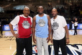 Legend George Gervin Horace Grant and Ron Harper participate during the Legends ThreePoint Challenge at Sprint Arena during the 2014 NBA AllStar Jam...