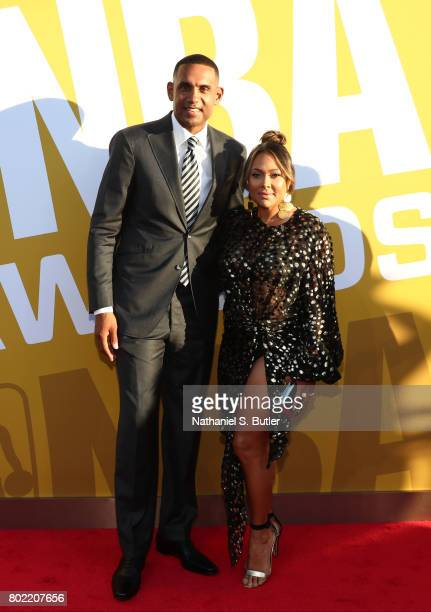 Legend Grant Hill and wife Tamia arrives at the red carpet at the NBA Awards Show on June 26 2017 at Basketball City at Pier 36 in New York City New...