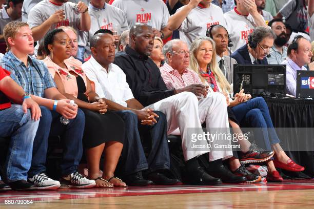 Legend Hakeem Olajuwon and Houston Rockets owner Leslie Alexander attend Game Four of the Western Conference Semifinals against the San Antonio Spurs...