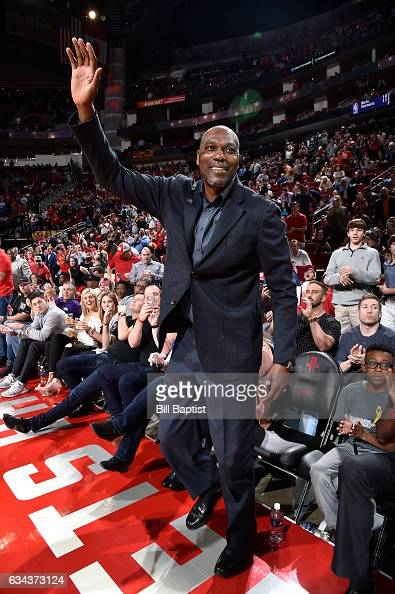 Legend Hakeem Olajuwon waves to the crowd during the Orlando Magic game against the Houston Rockets on February 7 2017 at the Toyota Center in...