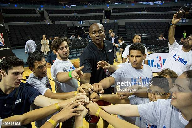 NBA legend Horace Grant greets with Mexican Special Olympics athletes during the NBA Cares clinic at Arena Ciudad de Mexico on December 02 2015 in...