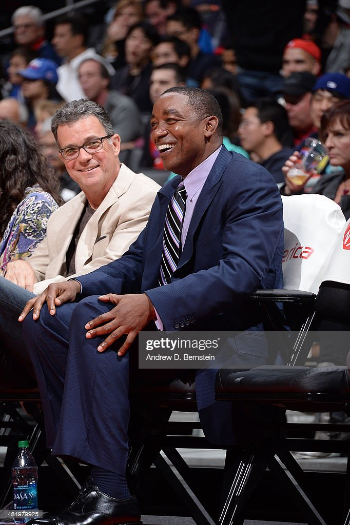 NBA Legend Isiah Thomas of the Detroit Pistons looks on against the Los Angeles Clippers at STAPLES Center on March 22, 2014 in Los Angeles, California.