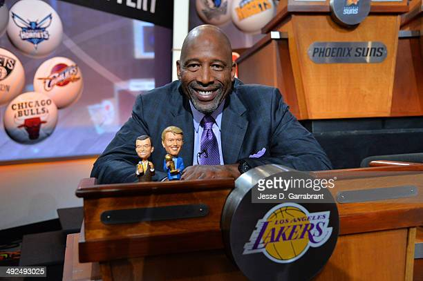 Legend James Worthy poses with his good luck charms prior to the 2014 NBA Draft Lottery on May 20 2014 at the ABC News' 'Good Morning America' Times...