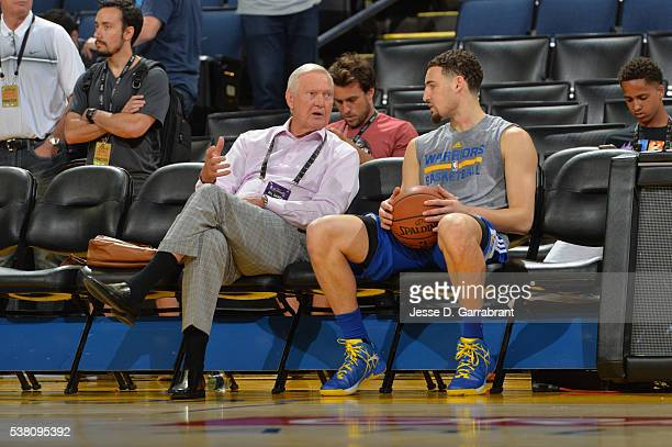 Legend Jerry West chats with Klay Thompson of the Golden State Warriors during practice and media availability as part of the 2016 NBA Finals on June...