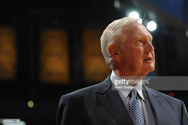 NBA legend Jerry West looks on at halftime of a game between the Houston Rockets and the Los Angeles Lakers at Staples Center on April 6 2012 in Los...