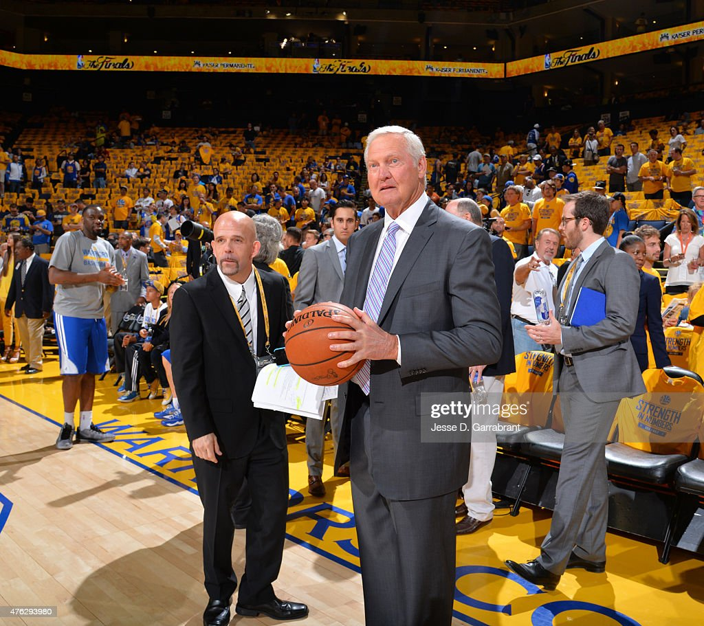 Legend Jerry West looks on prior to the Cleveland Cavaliers against the Golden State Warriors at the Oracle Arena During Game Two of the 2015 NBA...