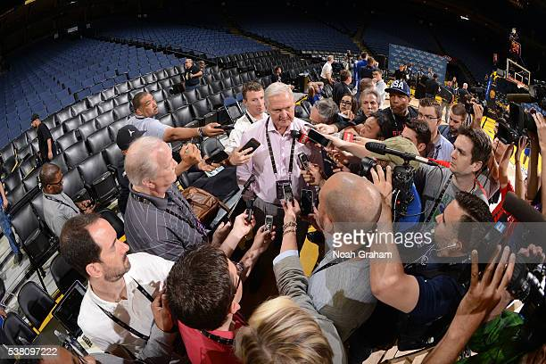 Legend Jerry West of the Golden State Warriors speaks to the media during practice and media availability as part of the 2016 NBA Finals on June 4...