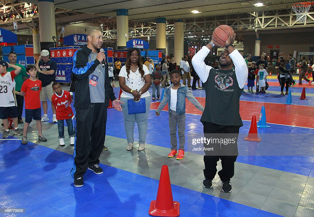 Legend <a gi-track='captionPersonalityLinkClicked' href=/galleries/search?phrase=John+Starks&family=editorial&specificpeople=211118 ng-click='$event.stopPropagation()'>John Starks</a> gives shooting pointers at the Fan Combine during the 2014 NBA All-Star Jam Session at the Ernest N. Morial Convention Center on February 15, 2014 in New Orleans, Louisiana