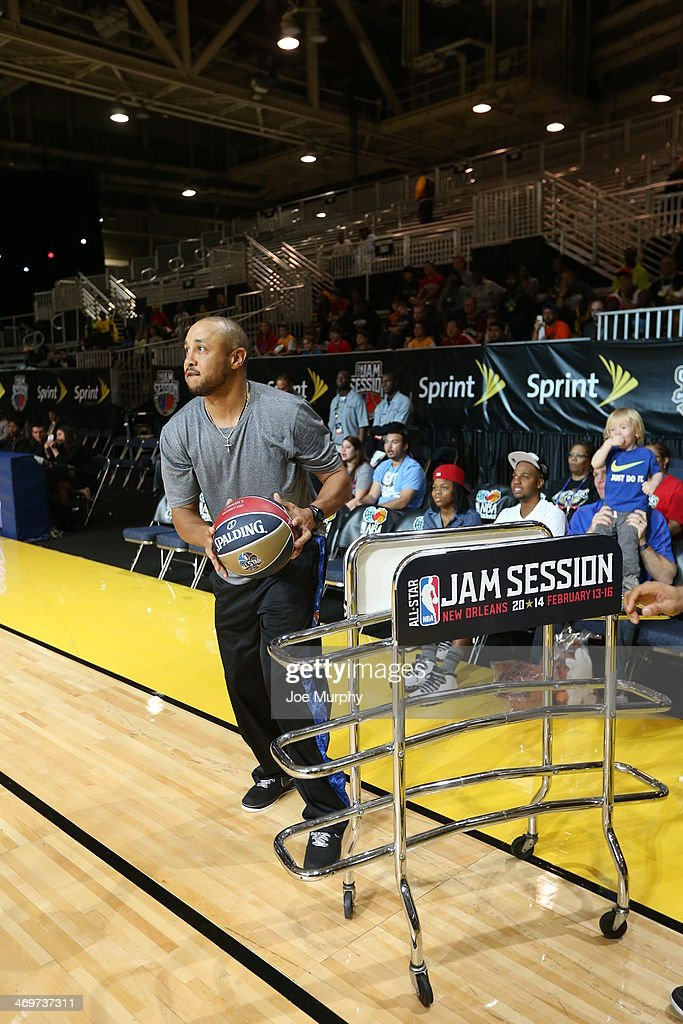NBA Legend John Starks participates in the Legends 3-Point Challenge at Sprint Arena during the 2014 NBA All-Star Jam Session at the Ernest N. Morial Convention Center on February 16, 2014 in New Orleans, Louisiana.