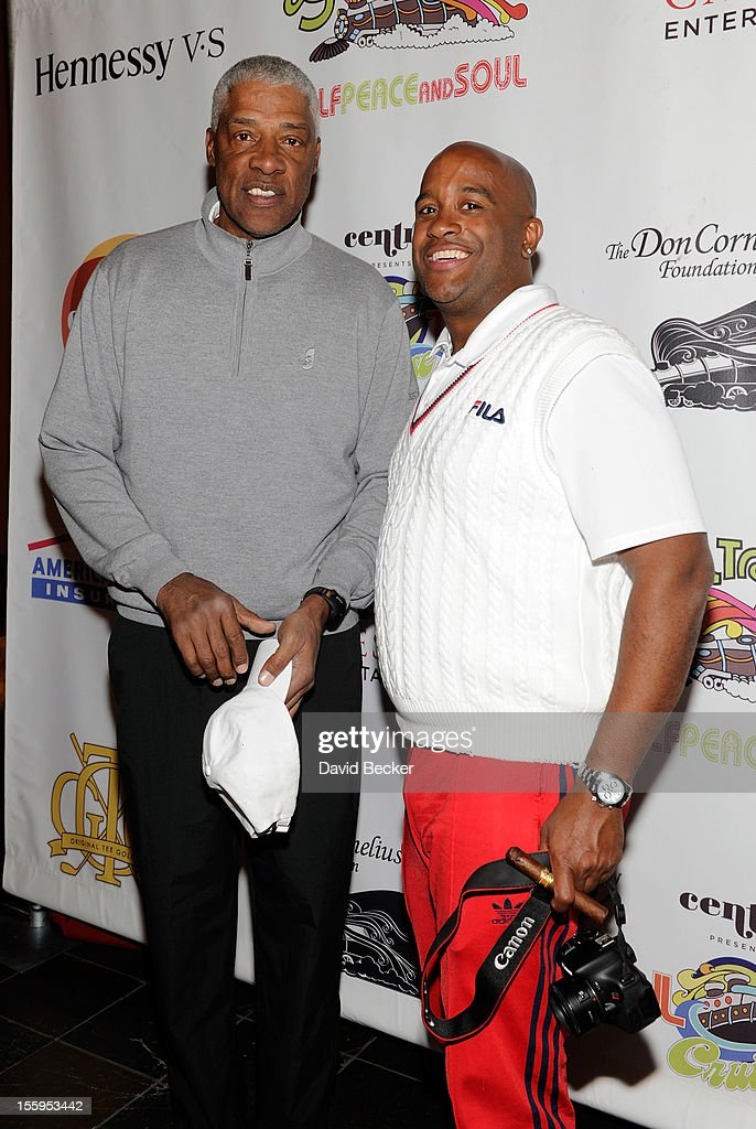 NBA legend Julius Erving (L) and Richie Porter attend the first annual Soul Train Celebrity Golf Invitational presented by Hennessy at the Las Vegas Paiute Golf Resort on November 9, 2012 in Las Vegas, Nevada.