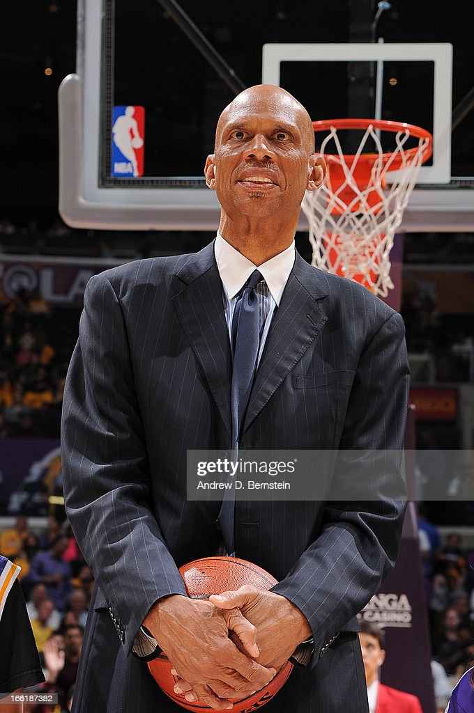 NBA legend <a gi-track='captionPersonalityLinkClicked' href=/galleries/search?phrase=Kareem+Abdul-Jabbar&family=editorial&specificpeople=206219 ng-click='$event.stopPropagation()'>Kareem Abdul-Jabbar</a> is honored at halftime of a game between the New Orleans Hornets and the Los Angeles Lakers at Staples Center on April 9, 2013 in Los Angeles, California.