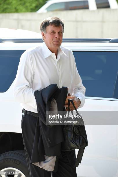 Legend Kevin McHale arrives before Game Four of the Western Conference Semifinals of the 2017 NBA Playoffs on May 8 2017 at vivintSmartHome Arena in...
