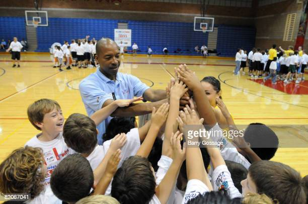 Legend Lafayette 'Fat' Lever participates in the Jr NBA/Jr WNBA basketball camp on July 24 2008 at the Centennial High School campus in Peoria...