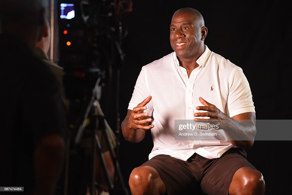 Legend, Magic Johnson speaks to first and second year NBA players on August 04, 2016 at Pinz Bowling Center in Los Angeles, California.