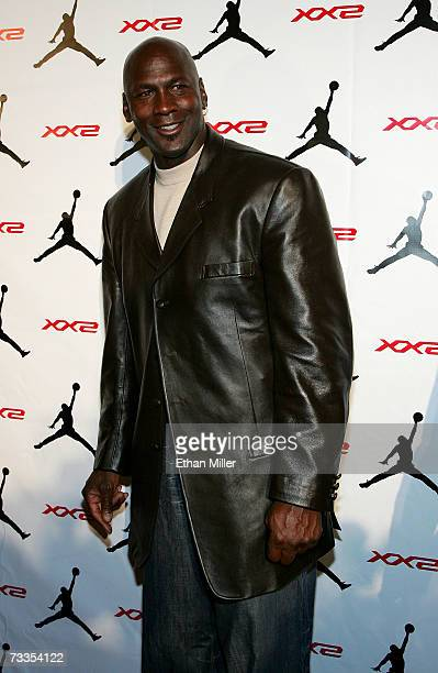 NBA legend Michael Jordan arrives to the celebration for Jordan Brand's launch of the Air Jordan XX2 shoe at the MGM Grand Pavillion Tent inside the...