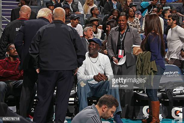Legend Michael Jordan attends the New York Knicks game against the Charlotte Hornets on November 26 2016 at Spectrum Center in Charlotte North...