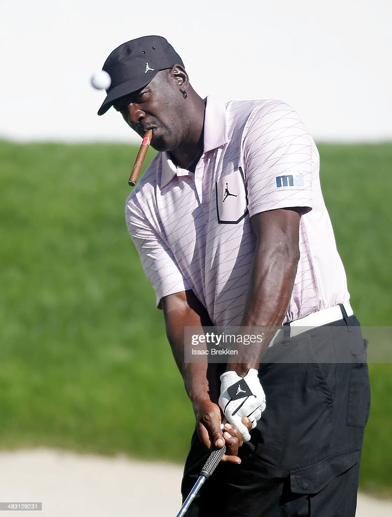 NBA legend <a gi-track='captionPersonalityLinkClicked' href=/galleries/search?phrase=Michael+Jordan+-+Basketball+Player&family=editorial&specificpeople=73625 ng-click='$event.stopPropagation()'>Michael Jordan</a> chips onto the green during Aria Resort & Casino's 13th Annual <a gi-track='captionPersonalityLinkClicked' href=/galleries/search?phrase=Michael+Jordan+-+Basketball+Player&family=editorial&specificpeople=73625 ng-click='$event.stopPropagation()'>Michael Jordan</a> Celebrity Invitational at Shadow Creek on April 6, 2014 in North Las Vegas, Nevada.