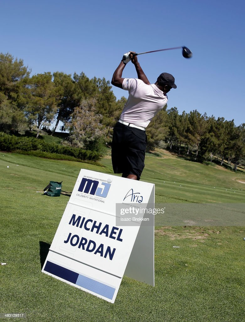 NBA legend <a gi-track='captionPersonalityLinkClicked' href=/galleries/search?phrase=Michael+Jordan+-+Basketball+Player&family=editorial&specificpeople=73625 ng-click='$event.stopPropagation()'>Michael Jordan</a> hits on the driving range during Aria Resort & Casino's 13th Annual <a gi-track='captionPersonalityLinkClicked' href=/galleries/search?phrase=Michael+Jordan+-+Basketball+Player&family=editorial&specificpeople=73625 ng-click='$event.stopPropagation()'>Michael Jordan</a> Celebrity Invitational at Shadow Creek on April 6, 2014 in North Las Vegas, Nevada.