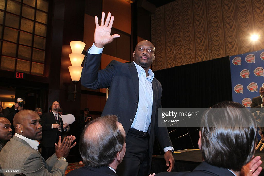 NBA Legend <a gi-track='captionPersonalityLinkClicked' href=/galleries/search?phrase=Mitch+Richmond&family=editorial&specificpeople=224800 ng-click='$event.stopPropagation()'>Mitch Richmond</a> is nominated at the Hall of Fame press conference during of the 2013 NBA All-Star Weekend at the Hilton Americas Hotel on February 15, 2013 in Houston, Texas.