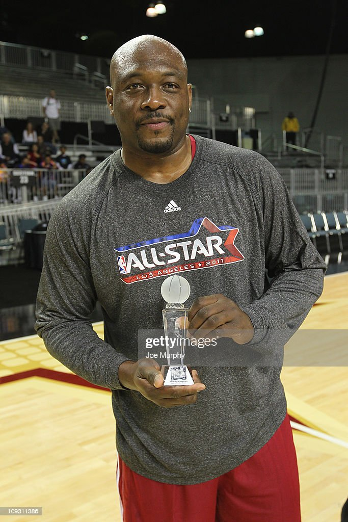 Legend Mitch Ritchmond wins the Legends Shootout on center court at Jam Session presented by Adidas during NBA All Star Weekend at the Los Angeles...