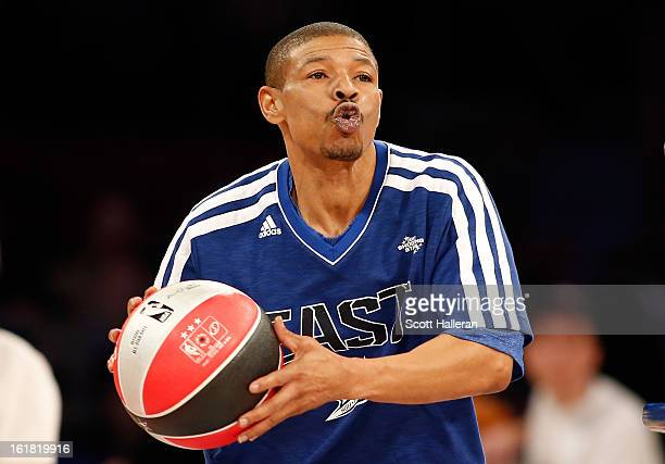 NBA legend Muggsy Bogues competes during the Sears Shooting Stars Competition part of 2013 NBA AllStar Weekend at the Toyota Center on February 16...