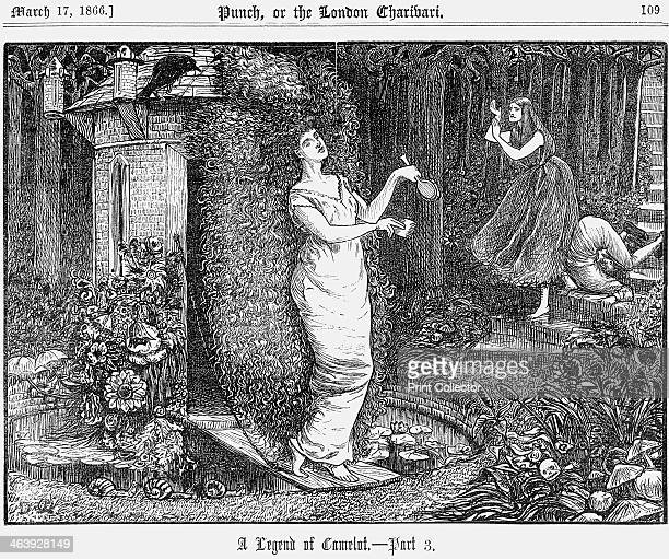 'A Legend of Camelot Part 3' 1866 A woman emerges from a small brick building in the centre of the pond and walks across a drawbridge She holds a...