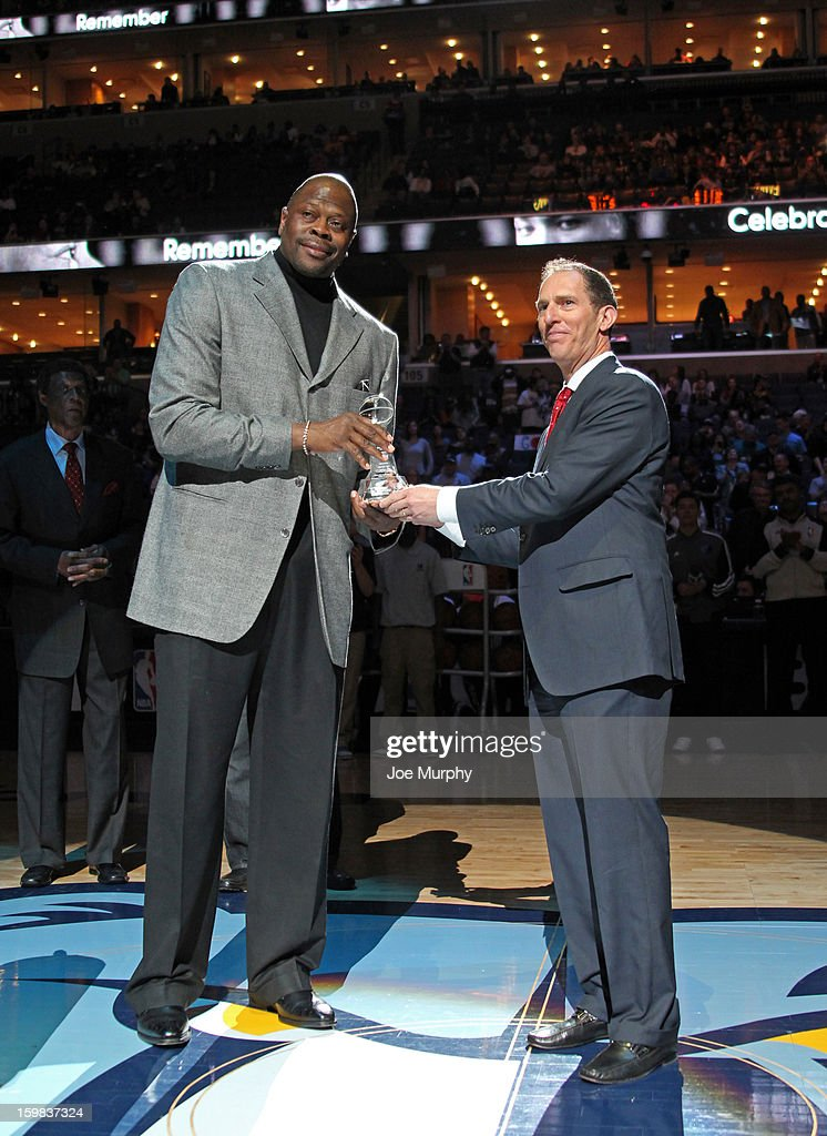 Legend Patrick Ewing receives the Martin Luther King Jr. Sports Legacy Award before a game between the Memphis Grizzlies and the Indiana Pacers on January 21, 2013 at FedExForum in Memphis, Tennessee.