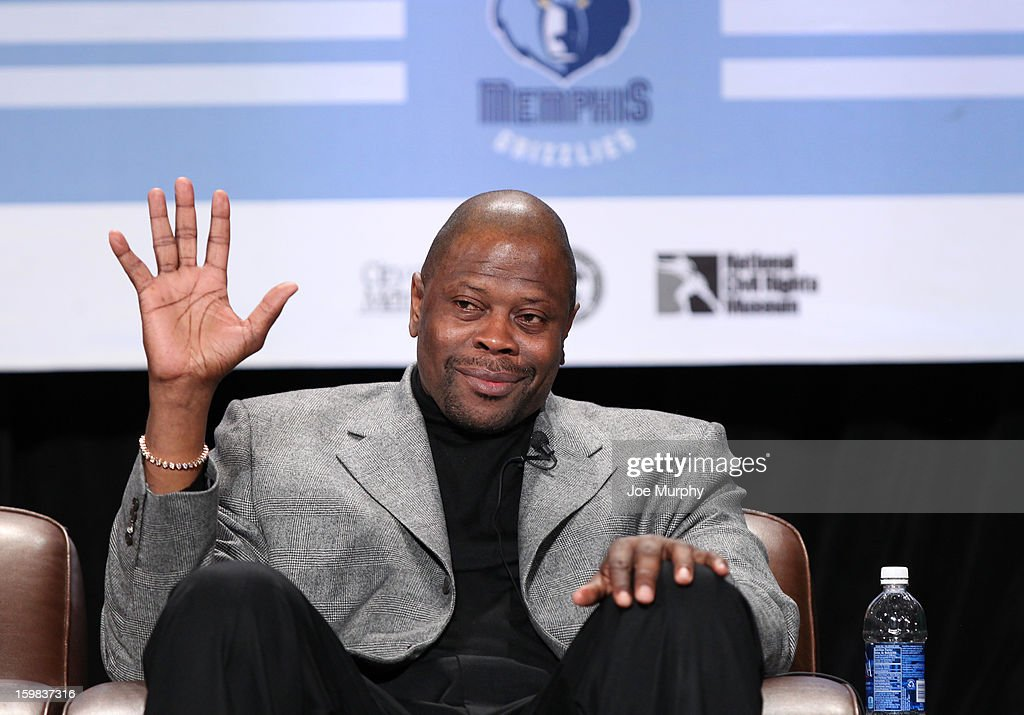 Legend Patrick Ewing waves to the crowd during the Martin Luther King Jr. Day Sports Legacy Award Symposium before a game between the Memphis Grizzlies and the Indiana Pacers on January 21, 2013 at FedExForum in Memphis, Tennessee.