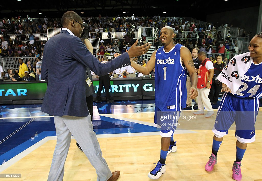 NBA Legend Penny Hardaway of the East team high-fives the Coach of the West team <a gi-track='captionPersonalityLinkClicked' href=/galleries/search?phrase=Kevin+Durant&family=editorial&specificpeople=3847329 ng-click='$event.stopPropagation()'>Kevin Durant</a> of the Oklahoma City Thunder during the Sprint All-Star Celebrity Game on center court at Jam Session during the NBA All-Star Weekend on February 24, 2012 at the Orange County Convention Center in Orlando, Florida.