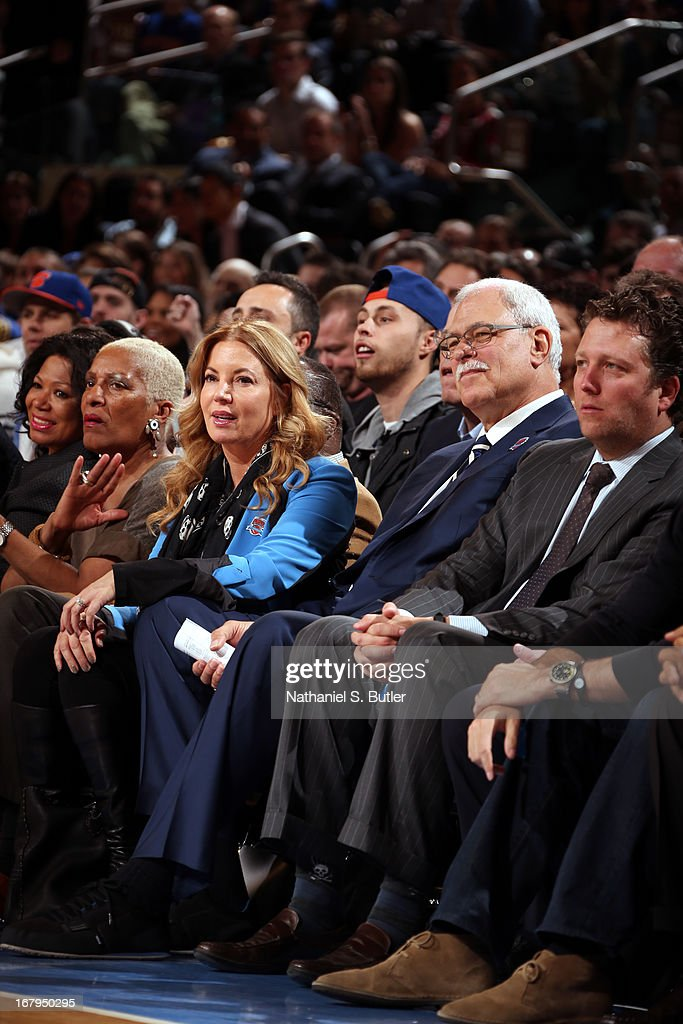 NBA legend <a gi-track='captionPersonalityLinkClicked' href=/galleries/search?phrase=Phil+Jackson&family=editorial&specificpeople=201756 ng-click='$event.stopPropagation()'>Phil Jackson</a> watches the New York Knicks play against the Milwaukee Bucks on April 5, 2013 at Madison Square Garden in New York City.
