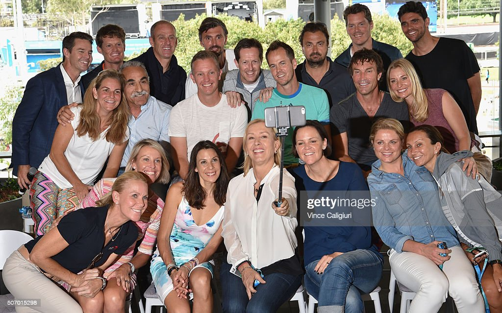 Legend players (back row) <a gi-track='captionPersonalityLinkClicked' href=/galleries/search?phrase=Todd+Woodbridge&family=editorial&specificpeople=204233 ng-click='$event.stopPropagation()'>Todd Woodbridge</a> of Australia, <a gi-track='captionPersonalityLinkClicked' href=/galleries/search?phrase=Wayne+Ferreira&family=editorial&specificpeople=213440 ng-click='$event.stopPropagation()'>Wayne Ferreira</a> of Sth Africa, <a gi-track='captionPersonalityLinkClicked' href=/galleries/search?phrase=Guy+Forget&family=editorial&specificpeople=235573 ng-click='$event.stopPropagation()'>Guy Forget</a> of France, <a gi-track='captionPersonalityLinkClicked' href=/galleries/search?phrase=Goran+Ivanisevic&family=editorial&specificpeople=209209 ng-click='$event.stopPropagation()'>Goran Ivanisevic</a> of Croatia, <a gi-track='captionPersonalityLinkClicked' href=/galleries/search?phrase=Jonas+Bjorkman&family=editorial&specificpeople=202920 ng-click='$event.stopPropagation()'>Jonas Bjorkman</a> of Sweden, <a gi-track='captionPersonalityLinkClicked' href=/galleries/search?phrase=Henri+Leconte&family=editorial&specificpeople=159217 ng-click='$event.stopPropagation()'>Henri Leconte</a> of France, <a gi-track='captionPersonalityLinkClicked' href=/galleries/search?phrase=Thomas+Enqvist&family=editorial&specificpeople=162773 ng-click='$event.stopPropagation()'>Thomas Enqvist</a> of Sweden, <a gi-track='captionPersonalityLinkClicked' href=/galleries/search?phrase=Mark+Philippoussis&family=editorial&specificpeople=162774 ng-click='$event.stopPropagation()'>Mark Philippoussis</a> of Australia <a gi-track='captionPersonalityLinkClicked' href=/galleries/search?phrase=Arantxa+Sanchez-Vicario&family=editorial&specificpeople=211536 ng-click='$event.stopPropagation()'>Arantxa Sanchez-Vicario</a> of Spain, <a gi-track='captionPersonalityLinkClicked' href=/galleries/search?phrase=Mansour+Bahrami&family=editorial&specificpeople=178975 ng-click='$event.stopPropagation()'>Mansour Bahrami</a> of France, <a gi-track='captionPersonalityLinkClicked' href=/galleries/search?phrase=Thomas+Johansson&family=editorial&specificpeople=203191 ng-click='$event.stopPropagation()'>Thomas Johansson</a> of Sweden, Magnus Norman of Sweden , <a gi-track='captionPersonalityLinkClicked' href=/galleries/search?phrase=Pat+Cash&family=editorial&specificpeople=208695 ng-click='$event.stopPropagation()'>Pat Cash</a> of Australia, <a gi-track='captionPersonalityLinkClicked' href=/galleries/search?phrase=Barbara+Schett&family=editorial&specificpeople=214550 ng-click='$event.stopPropagation()'>Barbara Schett</a> of Austria <a gi-track='captionPersonalityLinkClicked' href=/galleries/search?phrase=Rennae+Stubbs&family=editorial&specificpeople=217316 ng-click='$event.stopPropagation()'>Rennae Stubbs</a> of Australia, Nicole Bradtke of Australia, <a gi-track='captionPersonalityLinkClicked' href=/galleries/search?phrase=Marion+Bartoli&family=editorial&specificpeople=227896 ng-click='$event.stopPropagation()'>Marion Bartoli</a> of France, <a gi-track='captionPersonalityLinkClicked' href=/galleries/search?phrase=Martina+Navratilova&family=editorial&specificpeople=201523 ng-click='$event.stopPropagation()'>Martina Navratilova</a> of United States of America, <a gi-track='captionPersonalityLinkClicked' href=/galleries/search?phrase=Lindsay+Davenport&family=editorial&specificpeople=201764 ng-click='$event.stopPropagation()'>Lindsay Davenport</a> of United States of America, <a gi-track='captionPersonalityLinkClicked' href=/galleries/search?phrase=Kim+Clijsters&family=editorial&specificpeople=178302 ng-click='$event.stopPropagation()'>Kim Clijsters</a> of Belgium and <a gi-track='captionPersonalityLinkClicked' href=/galleries/search?phrase=Iva+Majoli&family=editorial&specificpeople=227244 ng-click='$event.stopPropagation()'>Iva Majoli</a> of Croatia pose for a photo during the legends hour during day ten of the 2016 Australian Open at Melbourne Park on January 27, 2016 in Melbourne, Australia.