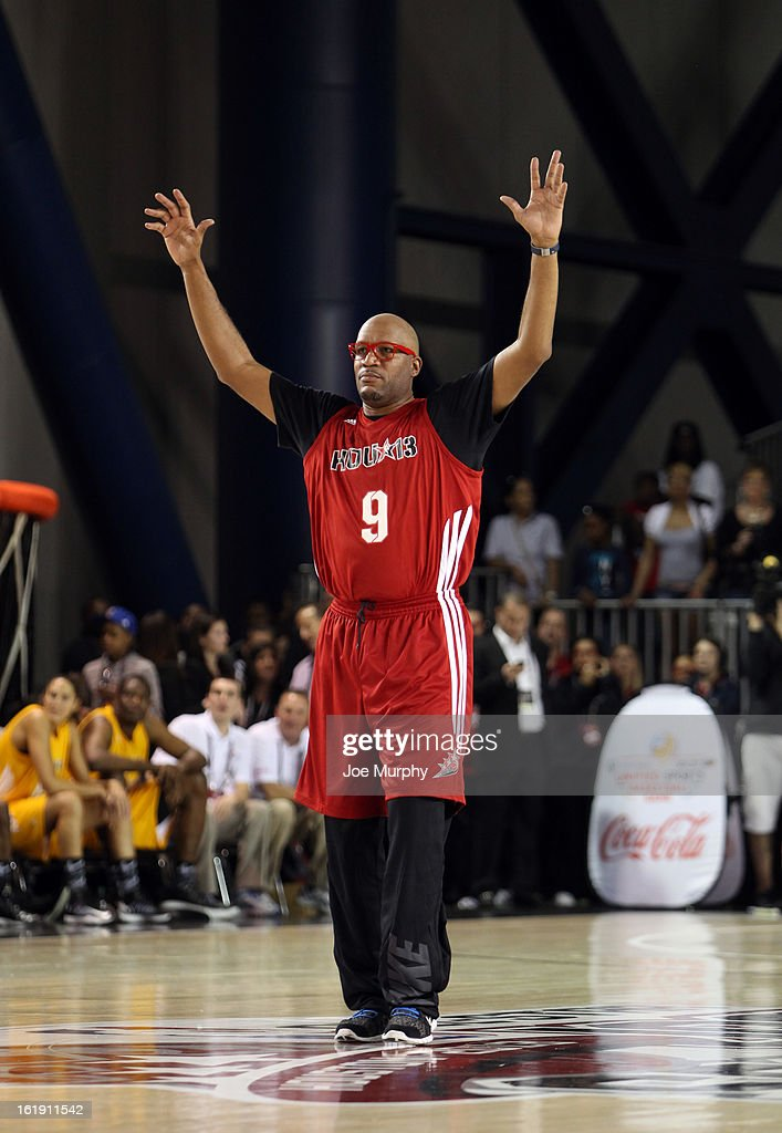 NBA Legend Ron Harper participates in the NBA Cares Special Olympics Unity Sports Basketball Game on Center Court during the 2013 NBA Jam Session on February 17, 2013 at the George R. Brown Convention Center in Houston, Texas.