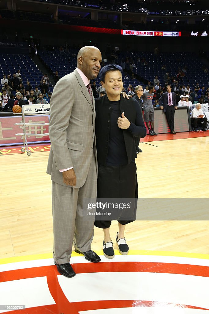 NBA Legend Ron Harper takes a photo with Korean Celebrity J.Y. Park pregame of the Charlotte Hornets against the Los Angeles Clippers as part of the 2015 NBA Global Games China at the Mercedes-Benz Arena on October 14, 2015 in Shanghai, China.