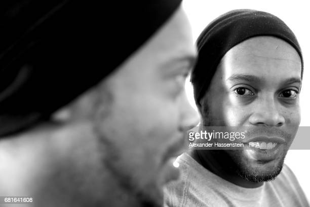 FIFA Legend Ronaldinho of Brazil poses after a interview at The Diplomat Radisson BLU Hotel on May 9 2017 in Manama Bahrain