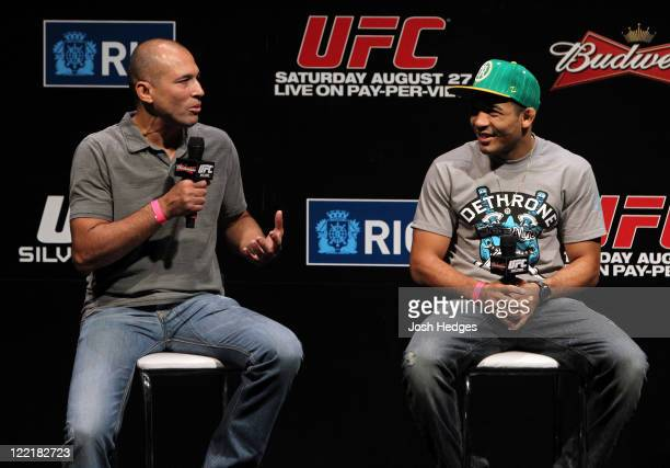 UFC legend Royce Gracie and UFC Featherweight Champion Jose Aldo attend a special QA session before the UFC 134 official weighin at HSBC Arena on...