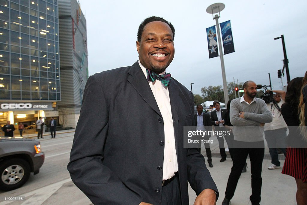 NBA Legend <a gi-track='captionPersonalityLinkClicked' href=/galleries/search?phrase=Sam+Perkins&family=editorial&specificpeople=209154 ng-click='$event.stopPropagation()'>Sam Perkins</a> arrives prior to the 2012 NBA All-Star Game presented by Kia Motors as part of 2012 All-Star Weekend at the Amway Center on February 26, 2012 in Orlando, Florida.